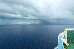 Sea summer view with stormy sky (Greece) Royalty Free Stock Images
