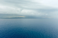 Sea summer view with stormy sky (Greece) Stock Images