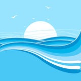 Sea and sun background.Nature illustration with waves Stock Images