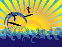 Sea sun and fun background. A background concept of sea sun and fun, a woman and a man surfing, woman knows what to do, the man, not really Stock Photography