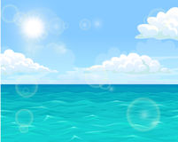 Sea and sun landscape horizontal. Sea water of the ocean against the blue sky and the sun. Horizontal landscape background of summer mood. Vector illustration Royalty Free Stock Photography