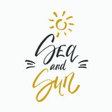 Sea and sun lettering on white background. Vector hand drawn illustration for greeting cards. royalty free stock images