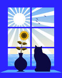 Sea and sun outside window Royalty Free Stock Photos