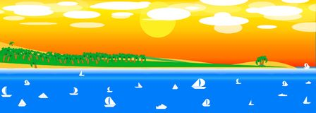 Sea, sun, palms, beach, yacht beautiful background with sunset. vector illustration