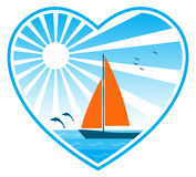 Sea, sun and sailboat in heart royalty free illustration