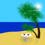 Sea, sun, sand, a beautiful holiday in the shade of palm trees. illustration. Sea, sun, sand, a beautiful holiday in the shade of palm trees. Vector illustration Stock Photos