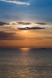 Sea sun and sky, sunset over coastline. Natural landscape background Stock Image