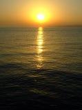 Sea sundown. Reflected on the sea royalty free stock photo