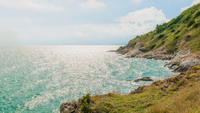 The sea in the sunny day. Sea and mountain with sunny day Royalty Free Stock Photos