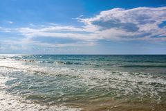 The sea on a sunny windy day stock images
