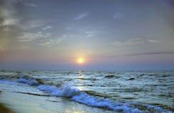 Sea sunrice. Landscape sea sunrice golden sky Stock Photos