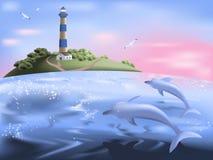 Sea sunrise. Seascape with dolphins at sunrise Stock Photos
