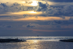 Sea sunrise. Beautiful sunset over the ocean. Sunrise in the sea Royalty Free Stock Images