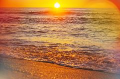 Sea on sunset Stock Image