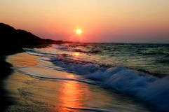 Sea sunset. On the italian mediterranean coast, blur Royalty Free Stock Image