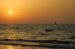 Sea sunset. Evening sailing in Mediterranean Sea Stock Photos