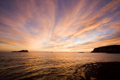 Sea sunset. In the island of ibiza Royalty Free Stock Images