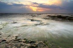 Sea sunset. Sunset on the Mediterranean Sea, Lebanon Stock Photo