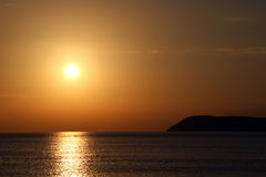 Sea sunset. Beautiful sea sunset on montenegro coast Stock Photos