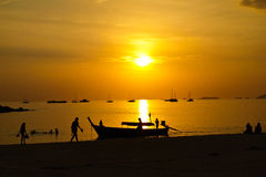 Sea sunset. At south of Thailand Royalty Free Stock Photo