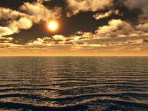 Sea sunset. Beautiful sea and sky at sunset - digital artwork Royalty Free Stock Photo