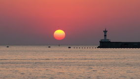 The sea at sunset. The sea on the sunset stock video footage