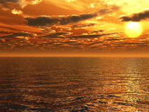 Sea sunset Stock Photography