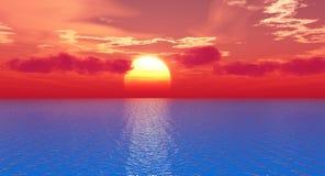Sea sunset. Beautiful sea and sky at sunset - digital artwork royalty free illustration