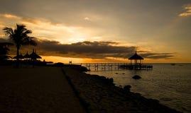 Sea sunset. Baltic sun sky coast clouds Stock Photos