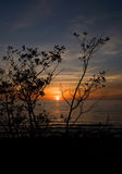 Sea sunset. Baltic sun sky coast clouds Royalty Free Stock Image