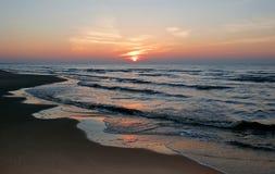 Sea sunset. Baltic sun sky coast clouds Royalty Free Stock Photos