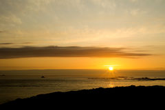 Sea sunset. Alderney island UK Royalty Free Stock Image