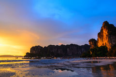 Sea and sunset. The beach and beautiful sunset stock photos