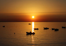 Sea Sunset, Beautiful Natural Scene Royalty Free Stock Images