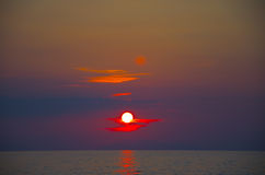 Sea sunset behind Eolian Islands. Sicily Royalty Free Stock Photo