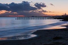 Sea sunset at Black Sea coast near Ravda village, Bulgaria.  royalty free stock photos