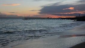Sea sunset at Black Sea coast near Ravda village, Bulgaria.  stock video footage