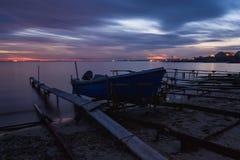 Sea sunset at Black Sea coast near Ravda village, Bulgaria. Blue hour sunset.  stock images