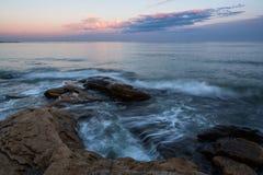 Sea sunset at Black Sea coast near Ravda village, Bulgaria.  royalty free stock photo