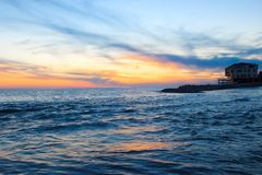 Sea sunset. Sunset on the black sea in Sochi Royalty Free Stock Photography