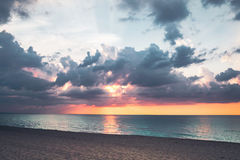 Sea sunset. Sea bright beautiful summer sunset Royalty Free Stock Photos