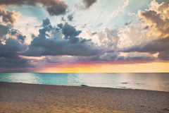 Sea sunset. Sea bright beautiful summer sunset Stock Photo