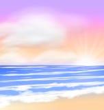 Sea sunset with bright sun, light on lens Stock Photo