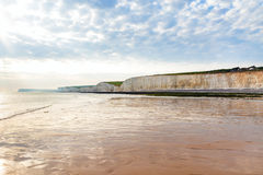 Sea sunset chalk cliff, Birling gap, Sussex, England Stock Photography
