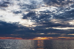 Sea with sunset Royalty Free Stock Photos