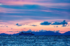 Sea sunset with criuse ship Royalty Free Stock Images