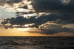 Sea Sunset. Dramatic sunset over Baltic Sea Royalty Free Stock Image