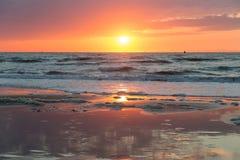 Sea sunset at the Dutch coast near Scheveningen Stock Photos