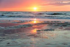 Sea sunset at the Dutch coast near Scheveningen Royalty Free Stock Photo
