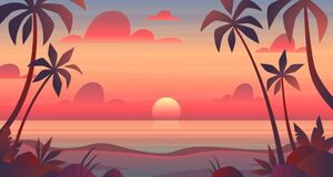 Free Sea Sunset. Evening Or Morning View Of Sun Above Ocean. Panorama With Clouds, Water Surface And Palm Trees, Exotic Royalty Free Stock Images - 181820369